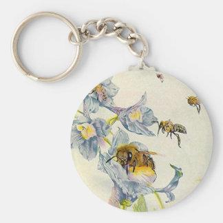 Honey Bees & Morning Glory Flowers EZ2 Customize Key Ring