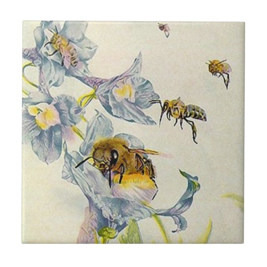 Honey bees & morning glory flowers Pretty Tile