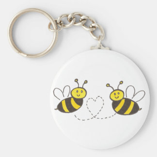 Honey Bees with Heart Basic Round Button Key Ring
