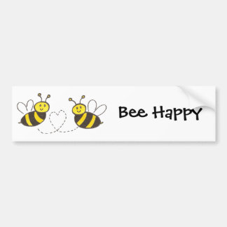 Honey Bees with Heart Bee Happy Bumper Sticker