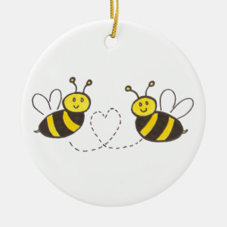 Honey Bees with Heart Christmas Ornament