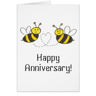 Honey Bees with Heart Happy Anniversary Card