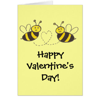 Honey Bees with Heart Happy Valentine's Day! Greeting Card