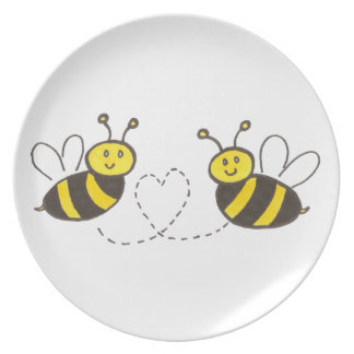 Honey Bees with Heart Plate