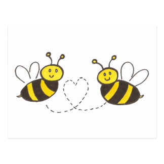 Honey Bees with Heart Postcard
