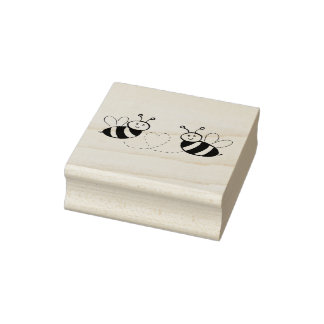 Honey Bees with Heart Rubber Stamp