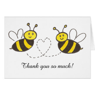 Honey Bees with Heart Thank you notes Greeting Card