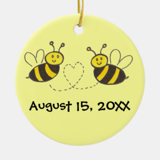 Honey Bees with Heart with Names and Date Christmas Ornament