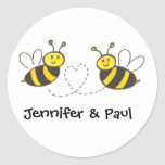 Honey Bees with Heart with Personalised Names Round Sticker