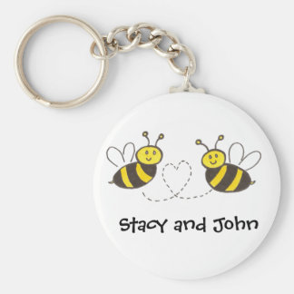 Honey Bees with Heart with Personalized Name Key Ring
