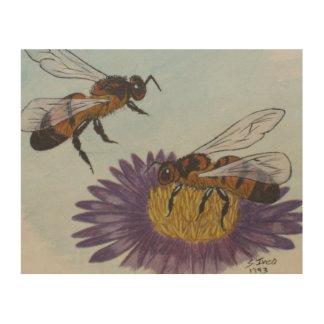 Honey bees wood print