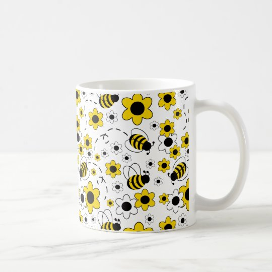 Honey Bumble Bee Bumblebee White Yellow Floral Coffee