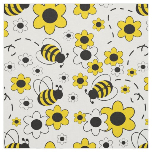 Honey Bumble Bee Bumblebee White Yellow Floral Fabric