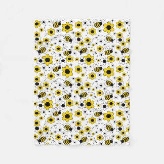 Honey Bumble Bee Bumblebee White Yellow Floral Fleece Blanket