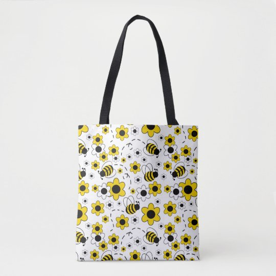 Honey Bumble Bee Bumblebee White Yellow Floral Tote