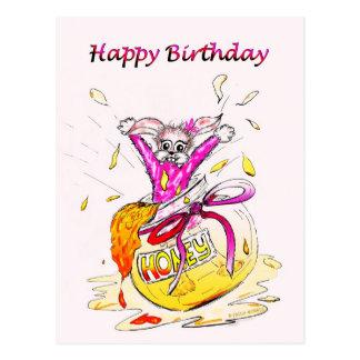 Honey Bunny Happy Birthday fun pink drawing card