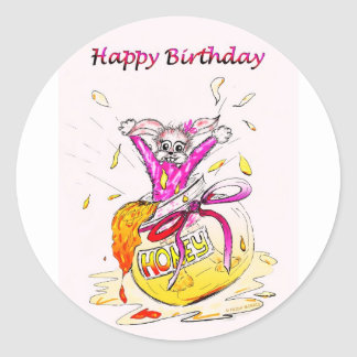 Honey Bunny Happy Birthday fun pink drawing card Classic Round Sticker