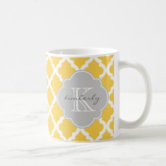 Honey Butter and Gray Moroccan Quatrefoil Print Coffee Mug