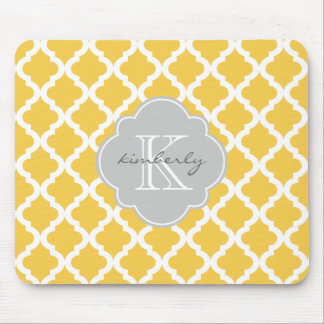 Honey Butter and Gray Moroccan Quatrefoil Print Mouse Pad