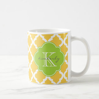 Honey Butter and Green Moroccan Quatrefoil Print Coffee Mug