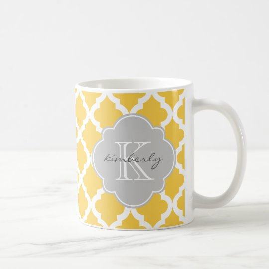 Honey Butter and Grey Moroccan Quatrefoil Print Coffee