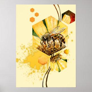 Honey comb bee yellow flower poster