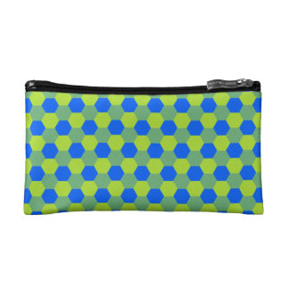 Honey comb pattern yellow blue cosmetic bag