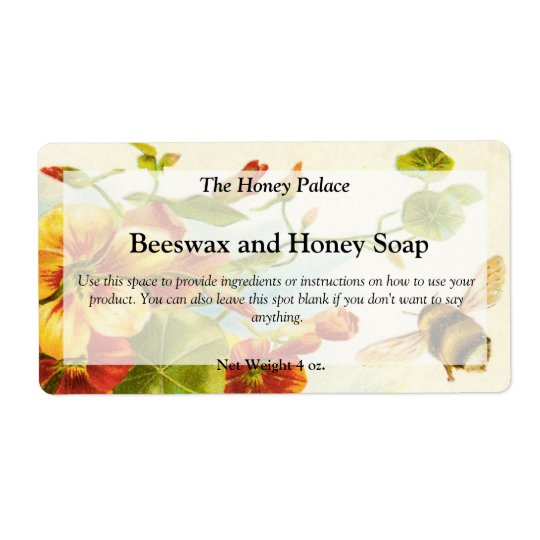 Honey Floral Bee Soap Label