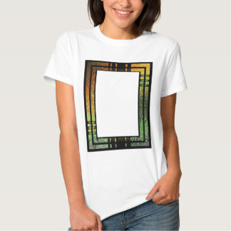 Honey Gold Green Tinted Stained Glass Frame Tee Shirts