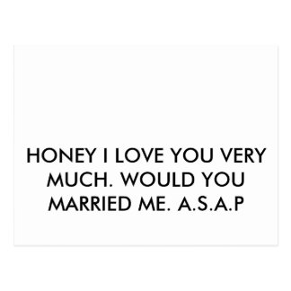 HONEY I LOVE YOU VERY MUCH WOULD YOU MARRIED M POST CARDS