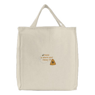 Honey Is Home Embroidered Bag