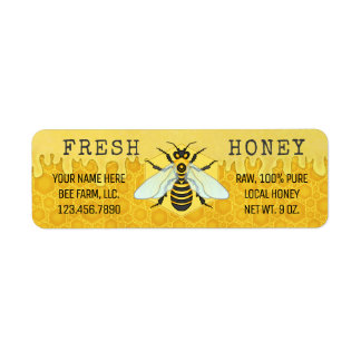 Honey Jar Labels | Honeybee Honeycomb Apiary Bees