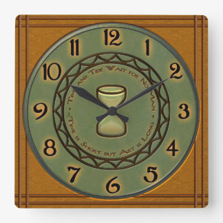 Honey Maple and Pine Pottery Craftsman-Style Square Wall Clock