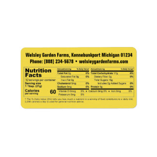 Honey Nutrition Facts & Business Info Label