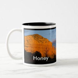 Honey on Moonrise Glowing Red Rock Mug