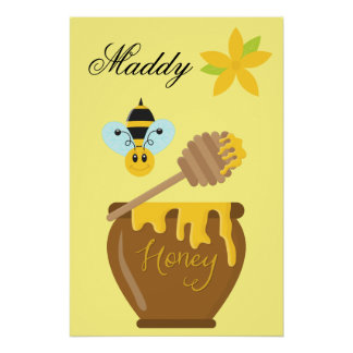Honey Pot Honeybee Nursery Kids Wall Art Print Perfect Poster