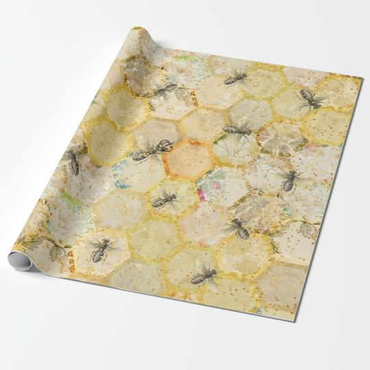 Honey Queen Bee Floral Honeycomb Gold Wrapping Paper