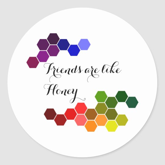 Honey Theme With Positive Words Classic Round Sticker
