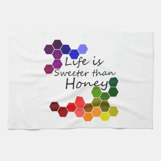 Honey Theme With Positive Words Tea Towel