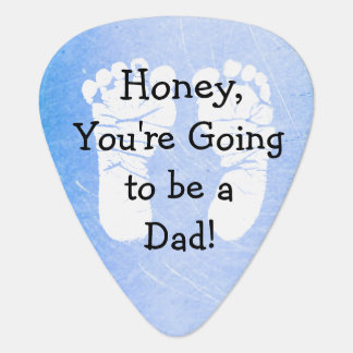 """'Honey, You're Going to be a Dad"""" White Footprints Plectrum"""