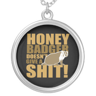 Honeybadger don't care round pendant necklace