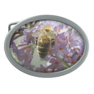 Honeybee and Buddleia Flowers Belt Buckle