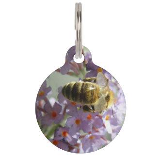 Honeybee and Buddleia Flowers Custom Dog Tag