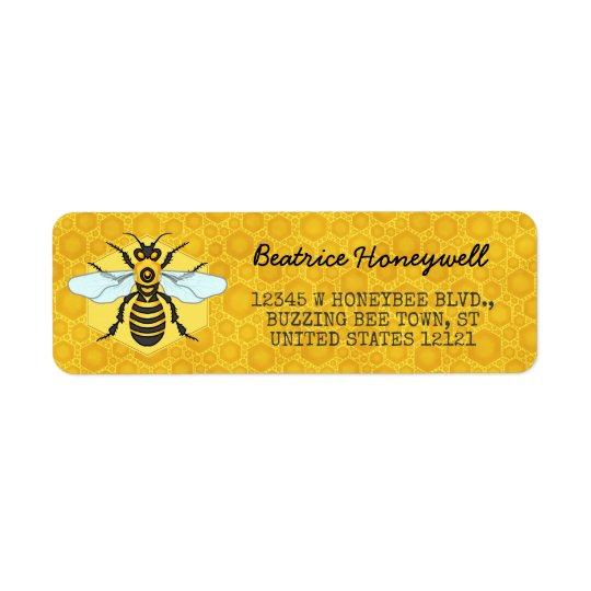 Honeybee and Honeycomb Bumblebee Honey Pretty Return Address