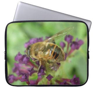 Honeybee and Purple Flowers Laptop Sleeve