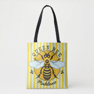 Honeybee Bumblebee Queen Bee Honey Stripes Custom Tote Bag