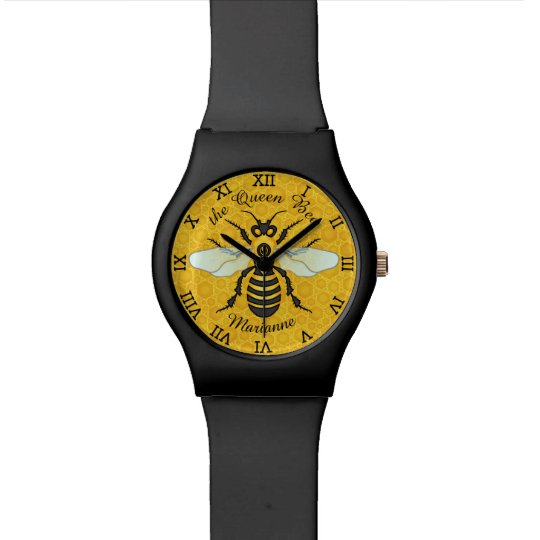 Honeybee Honeycomb Bee Queen Personalised Name Watch