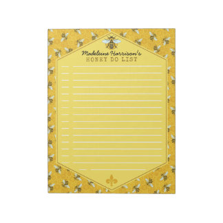 Honeybee Honeycomb Bumble Bee Honey Do List Custom Notepad