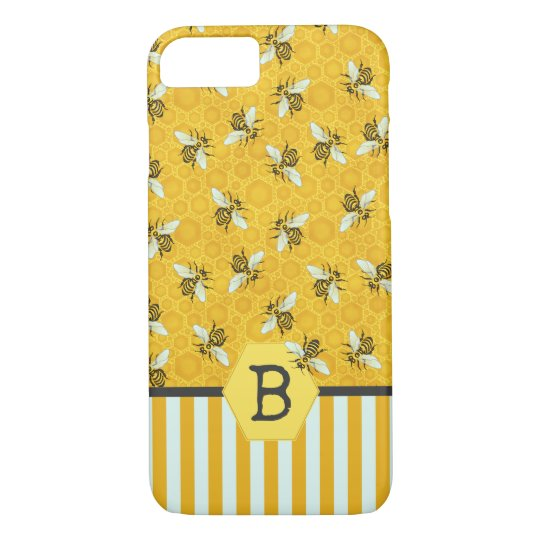 Honeybee Honeycomb Bumble Bee Monogram Pattern iPhone 8/7