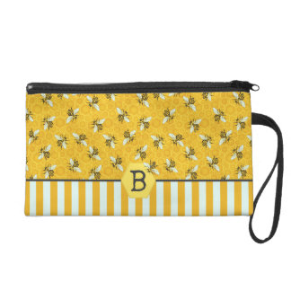 Honeybee Honeycomb Bumble Bee Monogram Pattern Wristlet